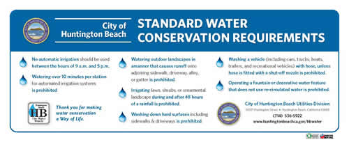 City of Huntington Beach Standard Water Conservation Requirements